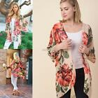 Women Casual 3/4 Sleeve Print Cardigan Loose Beach Cover Up N98B 01