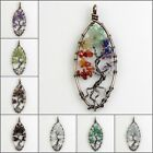 Amethyst Crystal Opalite Chips Beads Chakra Tree of Life Pendant For Necklace