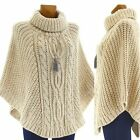Poncho laine grosse maille laine mohair beige ELODIE BEIGE