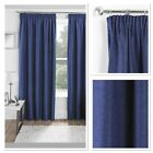 Essence Woven Textured Blackout /Thermal Fully Lined Pencil Pleat Curtains Navy