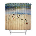 Love Beach Waves Shower Curtain Liner Polyester Fabric Bathroom Mat Set Hooks