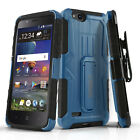 TANK ARMOR COVER CASE & HOLSTER FOR [ZTE BLADE VANTAGE] +BLACK TEMPERED GLASS