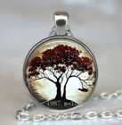 Vintage Cabochon Glass necklace tree of life jewelry Silver/Black/bronze pendant for sale  China