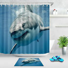 Great White Shark Smiling Shower Curtain Set Bathroom Waterproof Fabric & Hooks