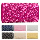 New Glitter Shimmer Diamante Women's Evening Wedding Clutch Bag