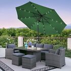 Solar LED 10 Ft. Diameter Umbrella Tilt Function Outdoor Patio Furniture Garden