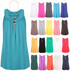 Womens Sleeveless Ladies Gathered Necklace Pendant Vest T-Shirt Top Plus Size