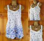 NEW EX MONSOON WHITE BLUE BUTTERFLY PRINT COTTON SUMMER CAMI TOP UK SIZE 10 & 12