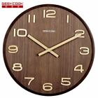 Large 14 inch Wooden Wall Clock Big Numbers Easy to Read for Living Room
