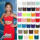 New Womens Plain Strappy Cami Basic Bralet Gym Sports Running Crop Bra Vest Top