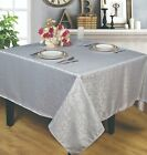 Jacquard Waterproof Tablecloth, Liquid Repellent and Stain Resistant, Silver