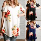 Womens Casual Rose Print Off Shoulder Short Sleeve T-Shirt Loose Tops Size S-5XL