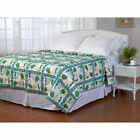 Twin Full Queen King Bed Green Coral Teal Sea Turtles Ocean Beach Quilt Coverlet image