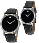 New Movado Museum Menacing / Silver Leather Watch for Men or Women 2100002 2100004