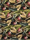 Bird Of Paradise Black Hawaiian 100% Cotton Tropical Upholstery Barkcloth