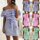 2018 Women's Casual Hot Dresses Strapless Shirt Summer Beach Mini Dress Cocktail