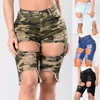 Fashion Women Camo High Waist Ripped Hole Short Mini Jeans Denim Pants Shorts