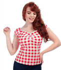 Collectif DOLORES Vintage GINGHAM Flower KARO Gypsy Bluse SHIRT Rot Rockabilly
