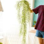 Artificial Long Plants Plastic Wall Hanging Vine Fake Flower Wisteria Home Decor
