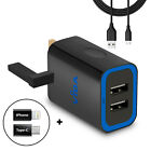 Rapid Fast Twin Dual USB Port Wall Charger UK Plug with Type C & iPhone adapters