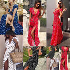 Polka Dots Print Elegant Long Maxi Dress Women Summer Holiday Beach Skirts New