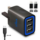 Twin Port 3-Ports USB Wall Charger UK Adapter For Mobile Phone Universal Quick