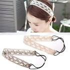 Women Faux Pearl Flower Lace Headbands Party Elastic Hair Bands Hair N98B