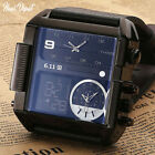 Waterproof Multiple Time Zone Led Square Watches For Men 2018 Quartz Wristwatch