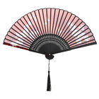 Chinese Colorful Japanese Bamboo Hand Held Folding Flower Style Tassel Silk Fan