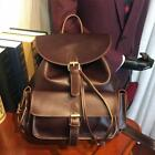 Cow Leather Backpacks Teenage Girls Brown Vintage Drawstring Bag Preppy Style