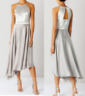 EX COAST BECKY SATIN BRIDESMAID SILVER DRESS FLATTERING OCCASION PARTY DRESS