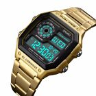 SKMEI Men Luxury Waterproof Alarm Stainless Steel Digital Square Wrist Watch US  image