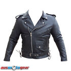 Brando Jacket Cowhide Leather Motorcycle Bikers Riders Black Jacket