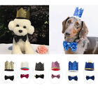 Pet Cat Dog Glitter Crown Hat Puppy Happy Birthday Party Bow Tie Cap Costume