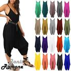 Womens Strappy Plain Cami Jumpsuit Italian Drape Baggy Harem Lagenlook Playsuit