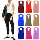 New Womens Plain High Choker V Neck Collar CutOut Plunge Vest Blouse T-Shirt Top