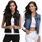 MISS MOLY Denim Vest Women's Washed Buttoned w 2 Chest Flap
