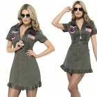 Deluxe Ladies Top Gun Costume 80s Pilot Aviator Womens Fancy Dress Outfit