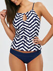 Women Anchor Print Keyhole Backless Tankini Swimsuits Push Up Bikini Suits Swim