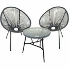 String Moon Chairs & 50cm Round Glass Table Steel Tube Frame Legs Indoor Outdoor