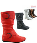 Kid's Youth's Faux Leather Round Toe Flat Zip Buckle Slouch Boots Size 9 - 4 NEW