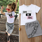 Внешний вид - Fashion Toddler Kids Baby Girls Cotton Tops T-shirt Dress Skirt Outfits Clothes