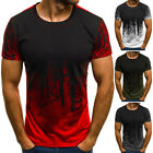 Men's Casual 3D Splash Ink O-Neck Tee Short Sleeves T-shirts Summer Cool Tops