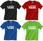 New adult VANS classic logo t-shirt skateboard tee warped tour sizes Small to XL image