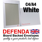 WHITE C4 A4 BOARD BACKED Envelopes STRONG POSTAL Hard Card Back PEEL AND SEAL