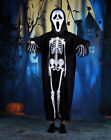Halloween Scary Funny Costume White Skull Printed Mask Pullover Long Dress Cospl