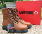 NEW Mens Genuine Wolverine Brown 8″ Lace Up Leather Work Boots Style W04217