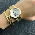 New Fashion Stainless steel Quartz Wristwatch Color Flower bear Watches image
