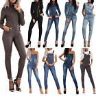 Womens Denim Jeans Full Length Dungaree Overall Ladies Leather Jumpsuit Catsuit