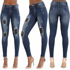 WOMEN'S BIKER SKINNY JEANS Ripped Knee Patched Stretchy Denim UK 6-10